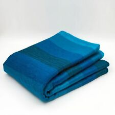 ALPACA WOOL BLANKET THROW AQUA BLUE TURQUOISE STRIPED PLAID QUEEN SOFT & WARM