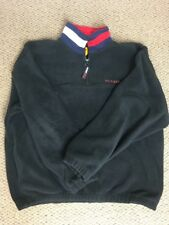 Tommy Hilfiger Vintage Quarter Zip Sweater Size XL Fleece Spell Out Black