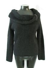 Black Angora Sweater M Fuzzy Sweater Fuzzy Angora Sweater Cowl Neck