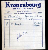 """CHATEAUROUX (36) BIERES / BRASSEUR """"René SCHOEN"""" Publicité KRONENBOURG en 1955"""