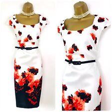 ROMAN ORIGINALS Shift Dress size 18 White Orange Black Shantung Floral Occasion