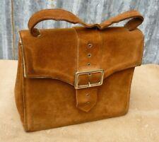 Vintage Ladies Tobacco Brown Suede Handbag c1930's / 40's Good Quality
