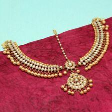 Kundan Matha Patti Indian Earrings Jhumka Bollywood Ethnic with maag tikka Gold