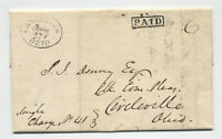 1835 Lancaster Ohio black oval stampless boxed paid [5251.103]