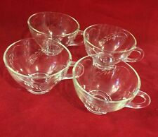 Vintage Wheat Etched Glass Coffee /Tea Cup Lot of 4 Cups