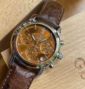 1st-Gen GEVRIL Chronometer Chronograph Brown Diamond Dial, 18k/SS, Ref. F0141
