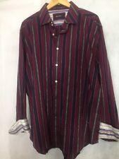 WILD Robert Graham BIG GUYS 3XL Striped Club Casual Shirt Men's Flip Cuff Red