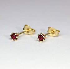 Rubies Studs Earrings 14K Solid Gold  Brilliant Cut   0.10ct to 0.60 ct VIDEO !