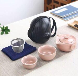 Chinese Kongfu Tea Pot SetPortable Tea Pot Two Person Pot + 2 Cups + Holder Pink