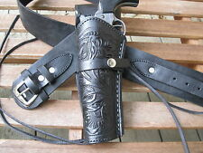 "Leather Gun Belt and Left Tooled Holster Combination - Black - Sizes 34"" to 52"""
