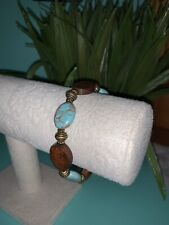 Wood & Turquoise Stretch Bracelet with Antique Gold Spacers Vintage?
