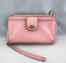 COACH UNIVERSAL Petal Leather Phone Pocket Wristlet Wallet Msrp $135 *REDUCED *