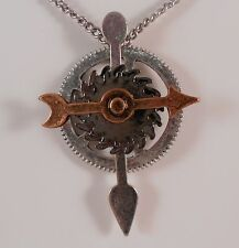 STEAMPUNK NECKLACE ARROW SPINS GOTHIC MECHANICAL GEARS