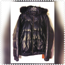 TANNERS AVENUE LEATHER FOX FUR HOOD COAT BUBBLE PUFFER STYLE SLIM FIT 4XL