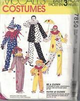 7850 UNCUT Vintage McCalls SEWING Pattern Halloween Costume Clown Adult Kids SEW