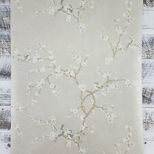 YORK Bird and Blossom Silver Gray Gold French Farmhouse Floral Wallpaper