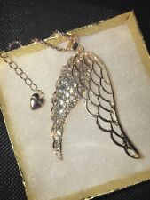 Betsey Johnson Necklace ANGEL Wings Gold Crystals Spiritual Religious GIFT BOX