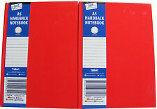 2 x HARDBACK NOTEBOOKS IN RED / NOTE BOOKS - RED - 70 GSM - RULED 50 SHEETS - A5