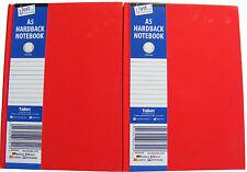 2 X Cuadernos de tapa dura en Rojo/Nota libros-Rojo - 70 GSM-gobernado 50 Hojas-A5