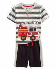 NANNETTE BOYZ WEAR Toddler 2T Firetruck Shirt & Shorts Set NWT