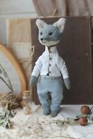 Teddy Handmade Interior Toy Collectable Gift Animal Doll OOAK Wolf Silver Fox