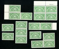 US Stamps # QE3a VF Lot of 18 Dry Gum OG NH Catalog Value $270.00