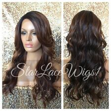 Long Wavy Lace Front Wig Brown Ombre Mixed Highlights Layers Heat Safe Resistant
