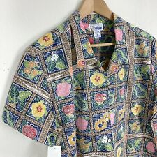 Reyn Spooner Hawaiian Traditional Women's Large Air Tapa Quilt Floral Print