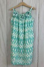 Crewcuts Girls Mint Green Print Lined Rosettes Sleeveless Sun Dress. Size 8