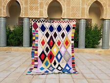 "Moroccan Vintage Boucherouite Rug 6'9""x4'7"" HandMade Berber Carpet, Azilal rug"
