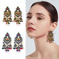 Women Bohemian Retro Leaf Tassel Earrings Long Dangle Wedding Bride Jewelry