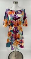 Ann Taylor Loft Dress Hawaiian Floral Print Off-Shoulder Drawstring Size MP D5