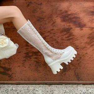 Womens Fashion Patent Floral Lace Platform Chunky Heel Knee High Boots Shoes SUN