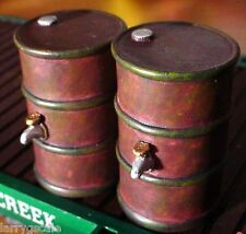 50 Gallon Drums (2) Miniatures w Spigots 1/24 Scale G Diorama Accessory Items