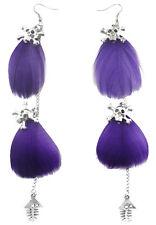 F1821 purple light Feather silver tone chain skull fish bone dangle earrings New