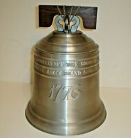 Vintage 1974 Pewtertone 1776 Liberty Bell Figural Ice Bucket w/ Lid - Italy