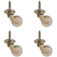 25mm Brass Furniture Castors White Wheel Screw Fitting - Pack of 4