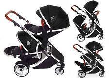 Kids kargo Duellette BS BLACK Double pushchair Twins Tandem stroller Pram Travel