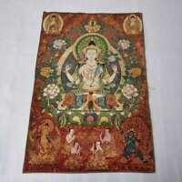 "36"" Tibet Tibetan Cloth Silk 4 Arm Guanyin Kwan-yin Tangka Thangka Mural #8"