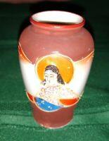 Satsuma Kutani Hand Painted Moriage Immortal Kannon on Porcelain 3 inch Vase