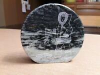 Canadian Soapstone Vintage Souvenir. Eskimo / Inuit Ice Fisherman Etching. Siku