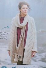 KNITTING PATTERN Ladies Cable Open Cardigan Rowan Long Ribbed Sleeves PATTERN