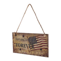 Vintage Wooden Hanging Plaque Stars and Stripes FOREVER Sign Wall Home Decor
