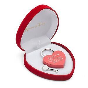 Liebes Schloss Herz Rot Liebesschloss mit Gravur Valentinstag Jahrestag Geschenk