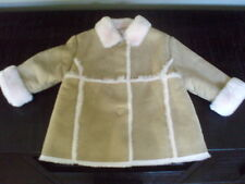 Euc~Gymboree Puppy Love Tan & Pink Faux Suede Fur Coat Size 18-24M