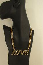 "New Women Fashion Necklace Gold Metal Chains LOVE Pendant Black Rhinestone 16"""