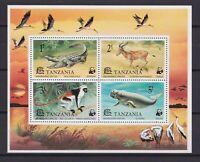 TANZANIA 1977, Mi #8, souvenir sheet, WWF, birds, animals, MNH