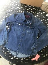 New Girls BlankNyc Chambray Denim Snap Front Shirt Size X-Large Xl