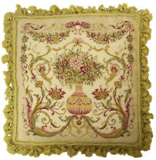 """20""""x20""""Handmade Wool Needlepoint French Vase Aubusson Design Pillow with Tassels"""