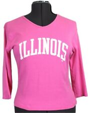 NCAA University of Illinois Women's XL v-neck pink knit top, 3/4 sleeves, Issue
